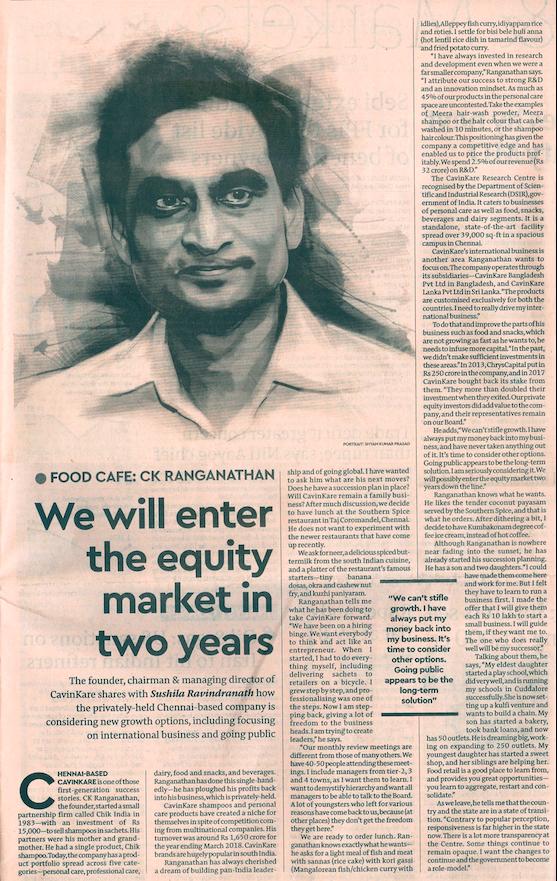 cavinkare to enter equity market